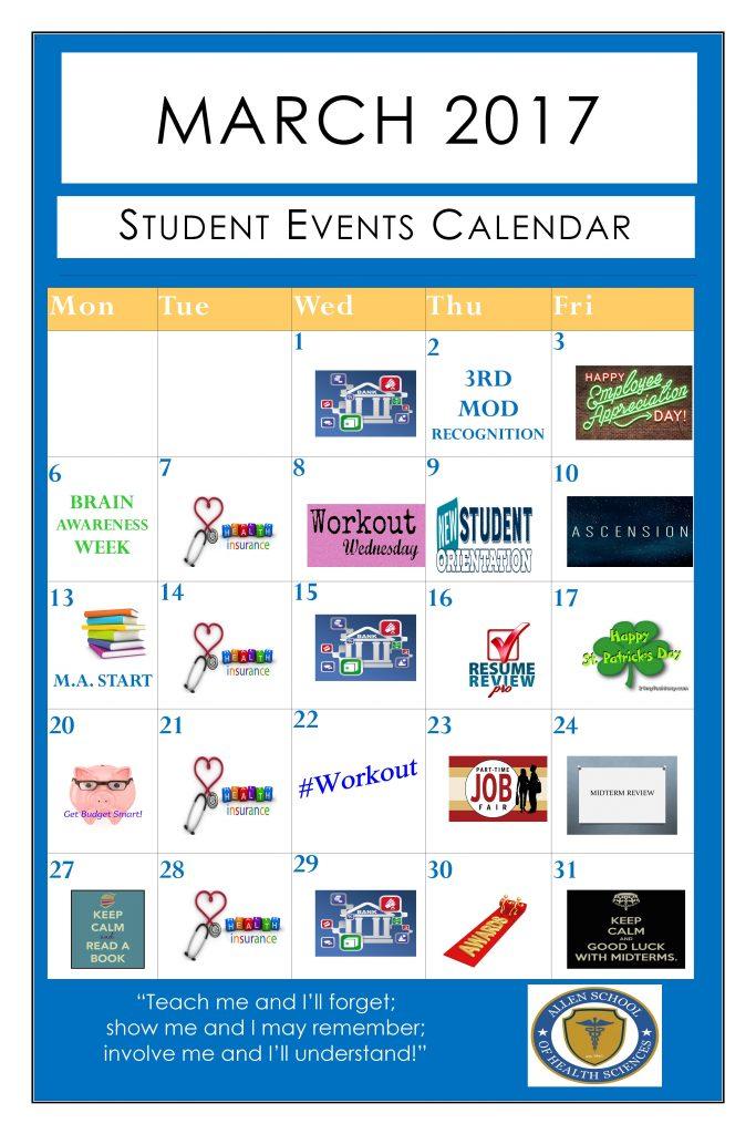 March 2017 Student Activity Calendar
