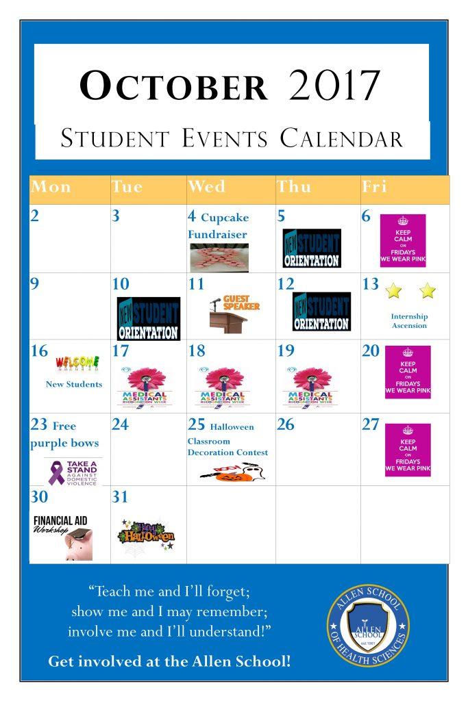 Student Activities Calendar - October 2017
