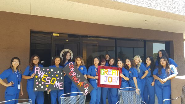 Medical Assistants celebrate outside of our Phoenix AZ campus